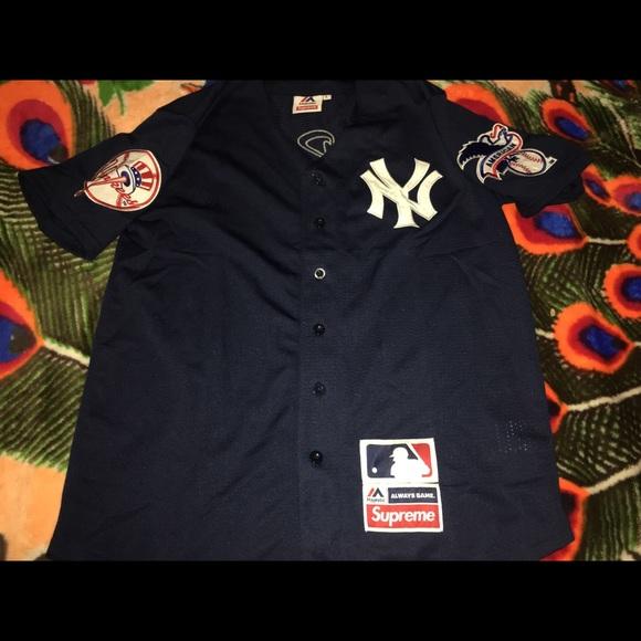 best service 52bd7 ddd3a Supreme x New York Yankee Baseball Jersey